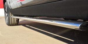 KIA SPORTAGE 2014- Пороги труба 75х42 овал с проступью KSGO-001676